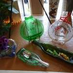 Bottles become decorative and useful objects in artist Thelma Boggs's studio.